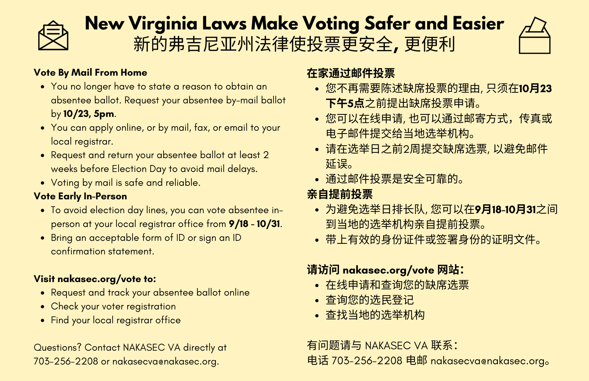 New Virginia Laws Make Voting Safer and Easier; translated to Chinese