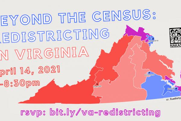 Beyond the Census: Redistricting in Virginia on April 14, 2021 at 7-8:30pm. RSVP: bit.ly/va-redistricting