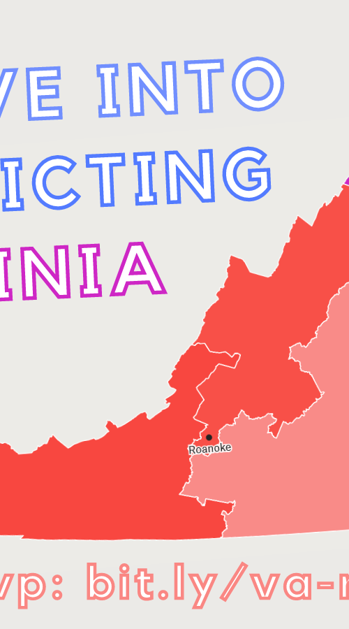 Event flyer for Deep Dive into Redistricting in Virginia. July 13, 2021 6-7:30pm. RSVP: bit.ly/va-rdt